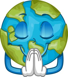 Illustration of an Earth Mascot with Eyes Closed, Hands Together and Praying