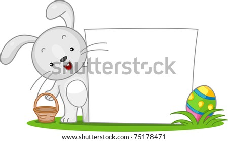 Illustration of an Easter Bunny Standing Beside a Blank Banner