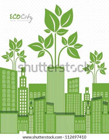 Illustration of an ecological city, vector illustration