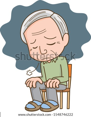 Illustration of an elderly man who is depressed and depressed