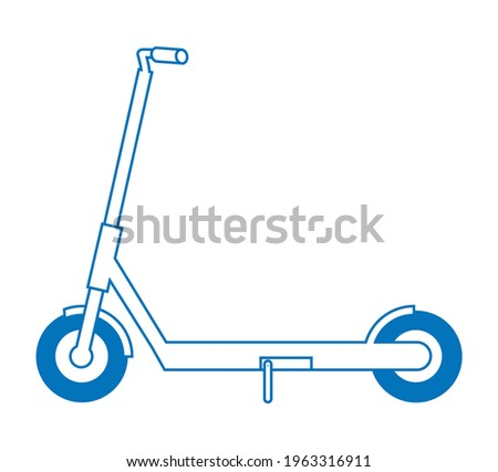 Illustration of an electric kickboard. Sports, entertainment, transportation, vector data. line art Foto stock ©
