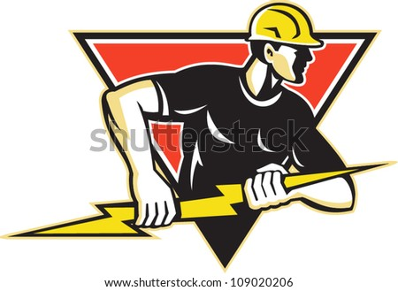 Illustration of an electrician construction worker holding a lightning bolt set inside triangle done in retro style in isolated white background.