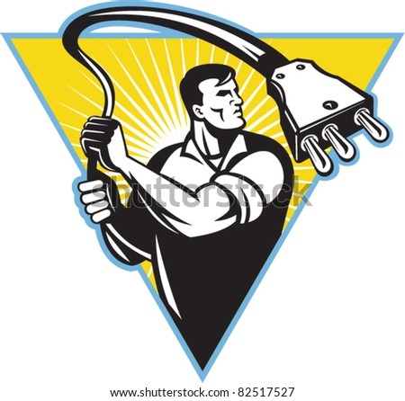 illustration of an electrician worker with 100A stage pin male connector plug wielding it like a lasso set inside an triangle with sunburst in background done in retro style