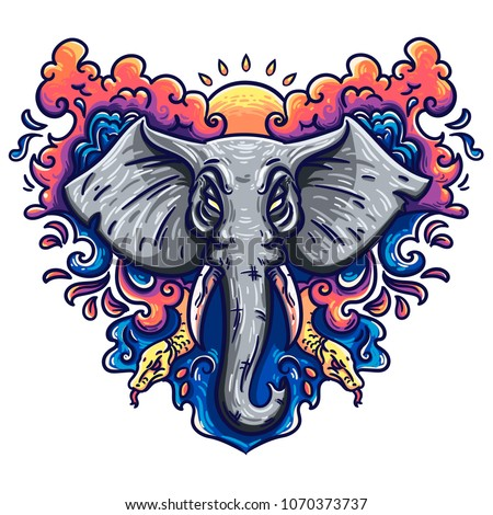 stock-vector-illustration-of-an-elephant-in-a-vector-perfect-ethnic-background-tattoo-art-yoga-african