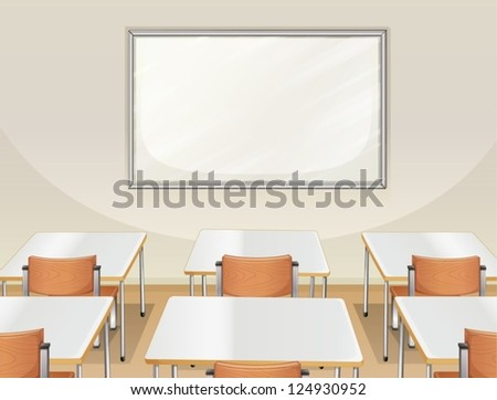Illustration of an empty classroom with white board, tables and chairs