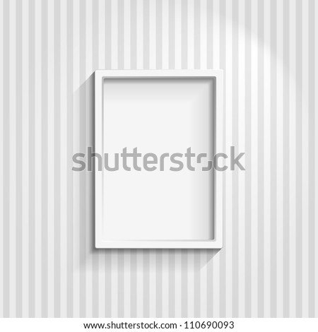 Illustration of an empty frame on a striped wall