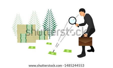 illustration of an entrepreneur carrying a bag and loop. is identifying traces of money. eps10 vector file