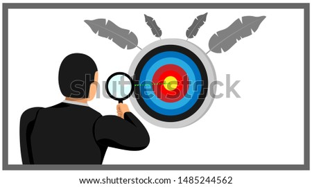 illustration of an entrepreneur holding a loop lens looking at the target point board. eps10 vector file