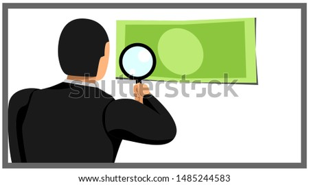 illustration of an entrepreneur holding a loop lens sees a piece of money. eps10 vector file
