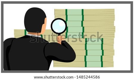 illustration of an entrepreneur holding a loop lens sees a pile of money. eps10 vector file