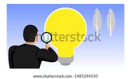illustration of an entrepreneur holding a loop lens sees the light bulb. eps10 vector file