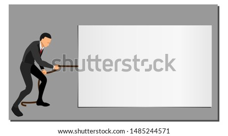 illustration of an entrepreneur pulling a string on a blank template screen. eps10 vector file
