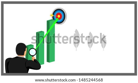 illustration of an entrepreneur who holds the lens loop see the target chart above. eps10 vector file