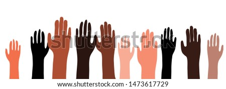 Illustration of an ethnically diverse group of hands raised