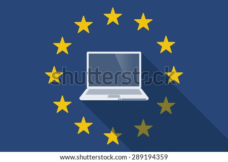 Illustration of an European Union long shadow flag with a laptop