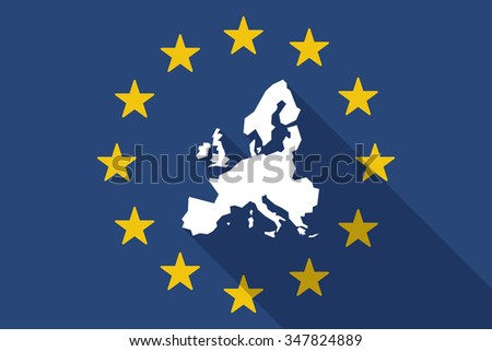 Illustration of an European Union  long shadow flag with  a map of Europe