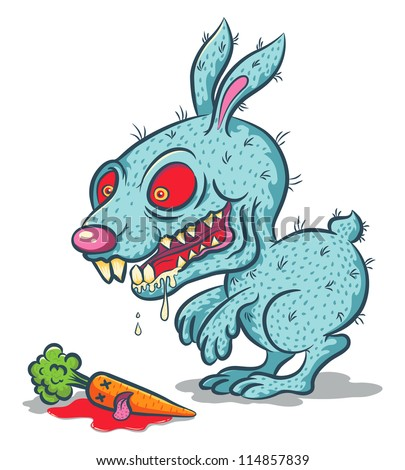 Illustration of an evil bunny and carrot