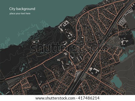 Illustration of an fictional district plan. Quarter residential low-rise buildings on the banks of the river. Vector illustration in dark tones
