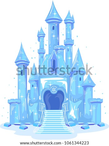stock-vector-illustration-of-an-ice-castle-shining-in-blue-and-violet