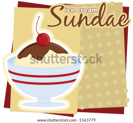 Illustration of an ice cream Sundae sign.