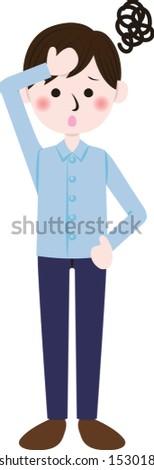 Illustration of an  ill man