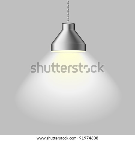 illustration of an illuminated ceiling lamp, eps 8 vector