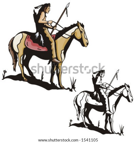 stock vector : Illustration of an indian warrior riding a horse.
