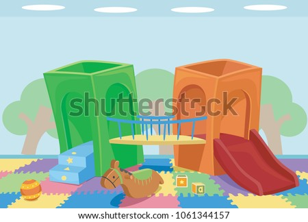 Illustration of an Indoor Playground with Slides and Toys for Playing