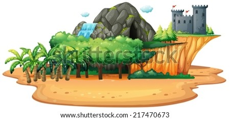 Illustration of an island with cave