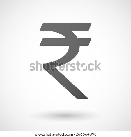 Illustration of an isolated grey rupee icon
