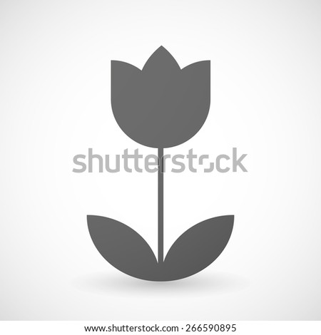 Illustration of an isolated grey tulip icon Stock photo ©