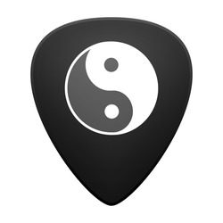 Illustration of an isolated guitar pick with a ying yang