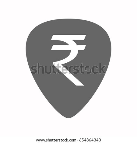 Illustration of an isolated guitar plectrum with a rupee sign