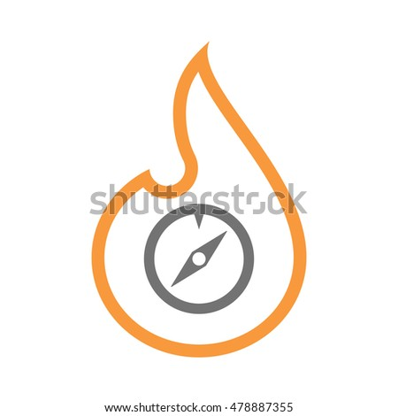 Illustration of an isolated  line art flame icon with a compass