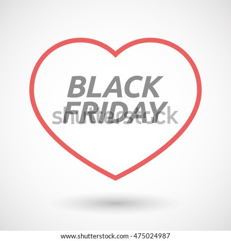 Illustration of an isolated line art heart icon with    the text BLACK FRIDAY
