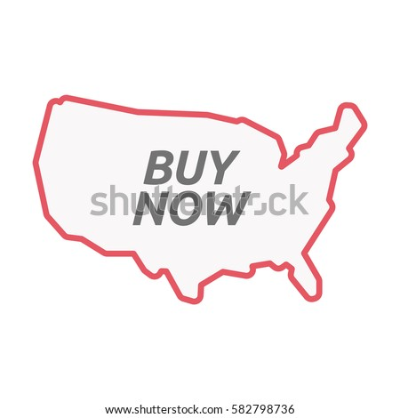 Illustration of an isolated line art United States of America map with    the text BUY NOW