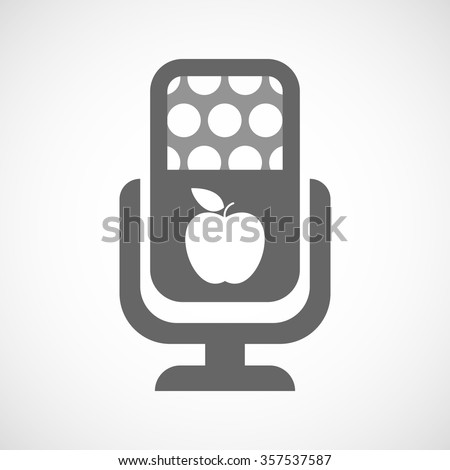 Illustration of an isolated microphone icon with an apple