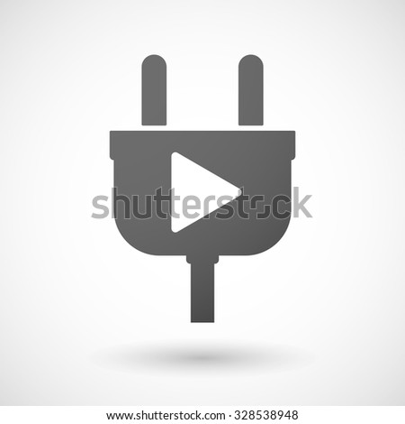 Illustration of an isolated plug icon with a play sign