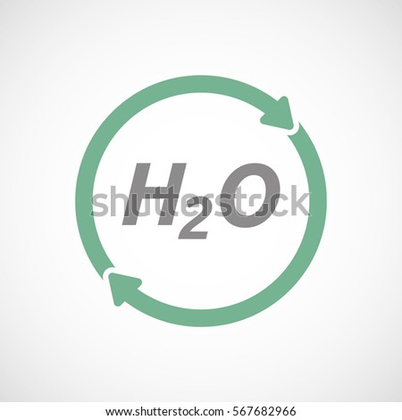 Illustration of an isolated recycle or reuse sign with    the text H2O