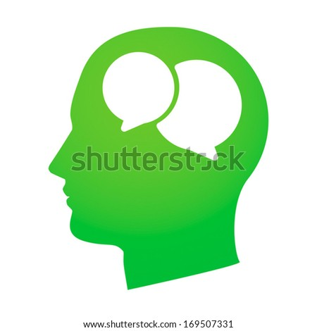 Illustration of an isolated silhouetted head with an icon