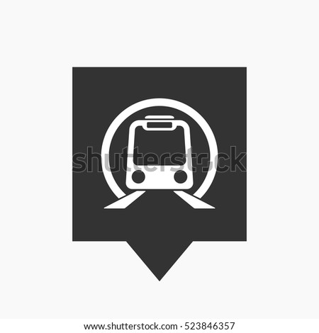 Illustration of an isolated tooltip icon with  a subway train icon