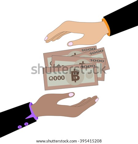 Illustration of an isolated vector hand giving 1000 bath bank note. Bath is the national currency of Thailand