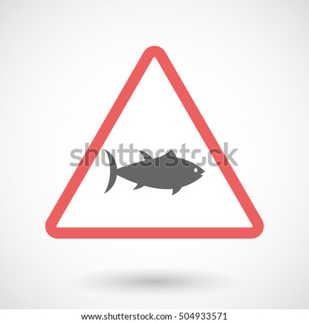 Illustration of an isolated warning line art icon with  a tuna fish