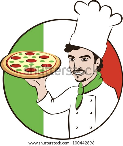 Illustration of an Italian chef with a pizza.