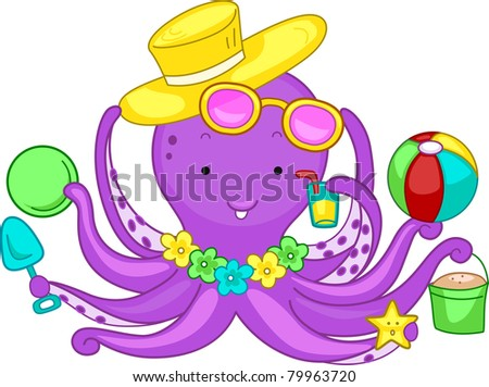 Illustration of an Octopus Playing in the Beach