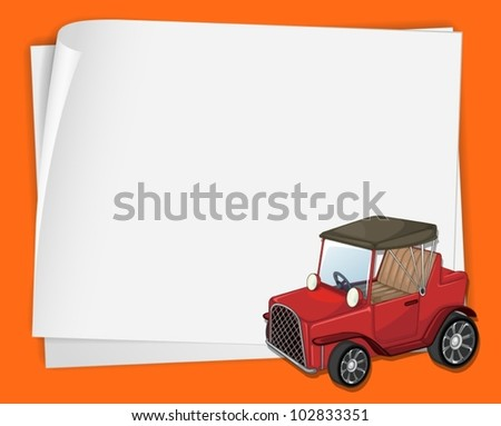 Illustration of an old car on paper