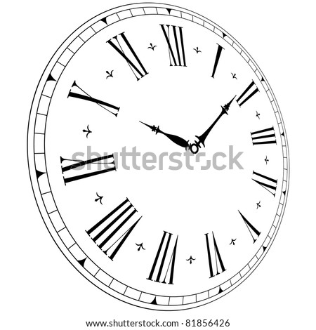 illustration of an old clock face with perspective angle, eps8 vector