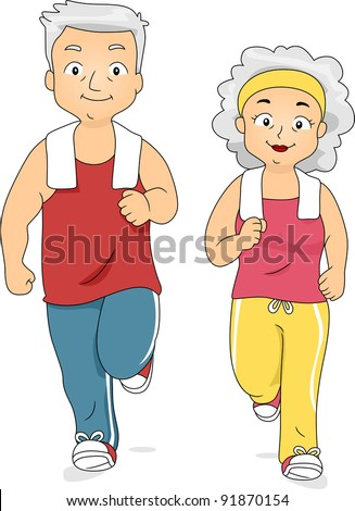 Illustration of an Old Couple Jogging Together