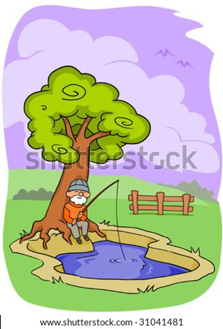 Illustration of an old man sitting beneath a tree and fishing in a small pool, relaxing in the outdoors.