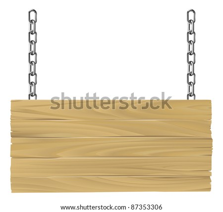 Illustration of an old wooden sign suspended on chains